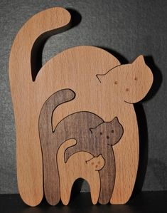 Three cats in one Small Woodworking Projects, Wooden Projects, Woodworking Workshop, Wooden Crafts, Woodworking Crafts, Wood Craft Patterns, Scroll Saw Patterns Free, Animal Puzzle, 3d Cnc
