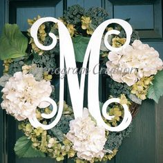 """18"""" Wood letters wall decal wall monogram, front door monogram nursery wall decor PAINTED"""