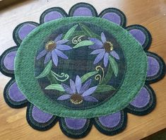 Purple Cone Flower Wool Applique Table Topper by PinesAndNeedlework on Etsy. Love the plaid background and coordinating colors Penny Rug Patterns, Wool Applique Patterns, Felt Applique, Applique Quilts, Felted Wool Crafts, Felt Crafts, Fabric Crafts, Wool Felting, Felted Scarf