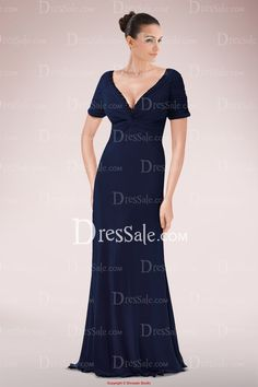 Concise A-line Mother of Bride Dress Featuring Plunging Neckline and Sweep Train