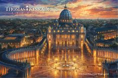 """Thomas Kinkade Studios is proud to present """"Vatican Sunset"""", a celebration of Faith featuring one of the most revered places of prayer in the Christian world.  """"But as for me and my house, we will serve the Lord."""" (Joshua 24:15)  Learn more: https://thomaskinkade.com/art/vatican-sunset/?ref=13"""