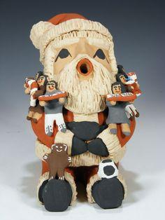 "Click Pictures To Enlarge Jemez Pueblo Pottery Santa Claus Storyteller by Deborah ""Kiki"" Loretto"