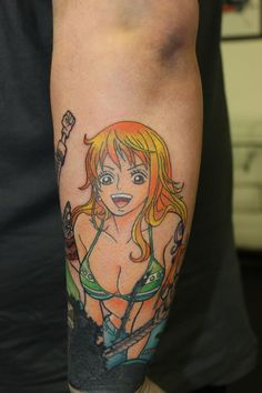 Nami has been added to this One Piece sleeve tattoo #tattoo #tattootom #onepiece #nami #bournemouth #anime Like me on Facebook: www.facebook.com/tattooisttom