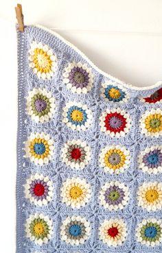 Sunshine Granny Square Baby Blanket Crochet by LittleDoolally