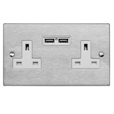 2 Gang Wall Socket Switch / USB Charger 2 gang 13 double socket outlet with USB Satin Stainless