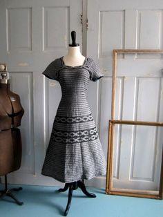Vintage 1950s Dress Vintage Ribbon Dress in by SassySisterVintage, $74.00
