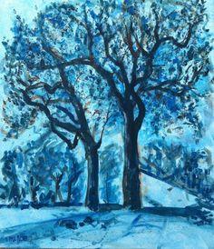 tableau peinture sur les hauteurs toile arbre bleu monochrome tableau achat tableau monoch sur les