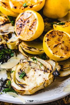 Grilled fennel is great on its own. With the addition of grilled lemons oil cured olives and shaved parmesan cheese it just gets better. Serve this Italian grilled fennel salad at your next party or barbecue! Grilled Vegetables, Vegan Side Dishes, Side Dish Recipes, Barbecue Recipes, Grilling Recipes, Vegetarian Grilling, Fennel Recipes, Italian Vegetables, Recipes