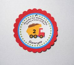 Dump Truck Birthday Cupcake Toppers  set of 12 by designerfavors,