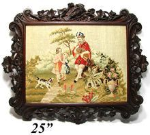 "Antique Victorian Needlepoint Tapestry, Dogs & Figures in 25"" Black Forest Style Carved Oak Frame"