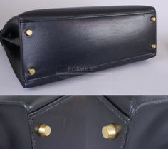 Authentic Hermes Black Box Calf Kelly Bag With Strap 32cm Gold Hw-$4990.0000