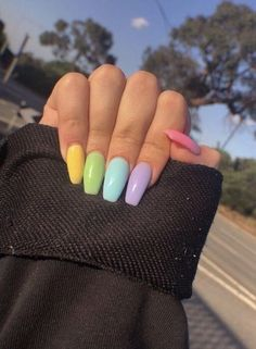 Rainbow nails are the perfect trend to add color to your hands Nail Art Design 21 Stylish fun design – Akuma Boy, ✅ naked nail polish 20 trendy winter nail colors and design ideas for 2019 – TheTrendSpotter Spring Nail Art, Nail Designs Spring, Cute Nails For Spring, Bright Nails For Summer, Easter Nail Designs, Best Acrylic Nails, Acrylic Nails Pastel, Acrylic Nails For Summer Coffin, Coffin Nails Designs Summer