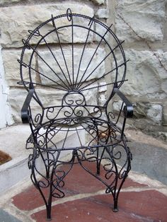 Childu0027s Vintage Wrought Iron Chair Made In Mexico C 1970 On Etsy, $95.00