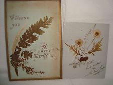 2 x Vintage New Year Cards - Ferns and Flowers