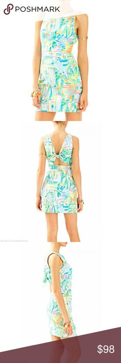 """LILLY PULITZER Courtney Shift in Sea Salt LILLY PULITZER Courtney Shift in Sea Salt A fresh and flirty new take on the classic shift, the Courtney Shift features a novelty open tie back and built in cups.   A girl need options: Enjoy an extra 1-3/4"""" inches of hem flexibility with this style. Wear as-is or let it out for some extra length.  Shift With Back Cut Out And Tie Details. 35"""" From Top Of Shoulder To Hem. Length: Above The Knee. Lightweight Sea Salt - Printed (100% Cotton). Machine…"""