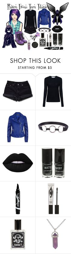 """Modern Raven"" by xxx-marshmallow-of-death-xxx ❤ liked on Polyvore featuring Levi's, IRO, Armani Jeans, Prada, Lime Crime, Hot Topic, Maybelline, Eyeko, Manic Panic NYC and modern"
