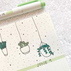 closeup of my plant doodles for this week's spread