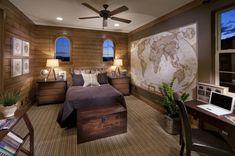 teen bedroom design ideas word map wall decor rustic interior wooden chest