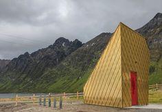 golden public bathroom at the ersfjordstranda, norway, by tupelo arkitekter