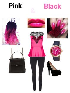 """Pink &  Black"" by niabre123 ❤ liked on Polyvore featuring City Chic, Boohoo, Lauren Conrad, Fendi, Marc Jacobs, cute, Pink, like and black"
