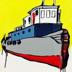 "JASPER KNIGHT ""Tug With Red Door"" Enamel on Perspex 60cm x 60cm FRAMED"