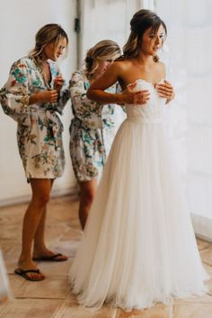 Destination Wedding At French Chateau With Bride In Wtoo by Watters Bridesmaids In Pretty Plum Sugar Robes And Photography by Phan Tien