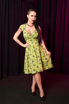 Pinup Couture Luscious Dress in Mr. Skulls Print