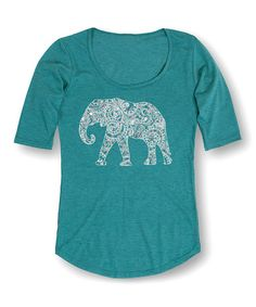 Another great find on #zulily! Heather Turquoise Swirl Elephant Three-Quarter Sleeve Tee #zulilyfinds