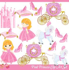 Pink Princess Clipart Set by 1EverythingNice on Etsy