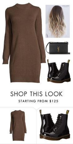 """""""Black And Brown 389"""" by mrswilkinson ❤ liked on Polyvore featuring Dr. Martens, Yves Saint Laurent, black, hair, hairstyle, brown and blackandbrown"""