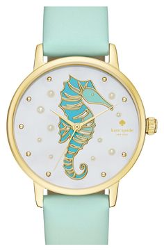 Pearl bubbles and an aqua seahorse with gold-tone accents dance across the mother-of-pearl dial of this kate spade new york® Metro watch. Anchored by a gold-tone case and mint splash leather strap, this gorgeous style is perfect for a tropical beach trip. Teal Jewelry, Anchor Jewelry, Initial Jewelry, Jewellery, Horse Jewelry, Golden Jewelry, Jewelry Accessories, Fashion Accessories, Mint Watch