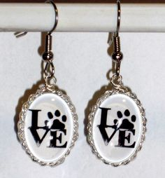Ohrringe Tatze Tier Katze Hund Damen Ohrschmuck Modeschmuck Hänger Glas oval
