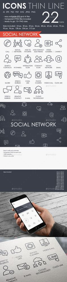 Social network thinline icons — Photoshop PSD #networking #speech • Available here → https://graphicriver.net/item/social-network-thinline-icons/15915219?ref=pxcr