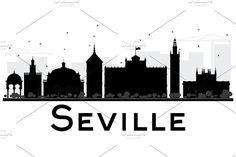 Seville City skyline silhouette Graphics Seville City skyline black and white silhouette. Vector illustration. Simple flat concept for touris by Igor Sorokin