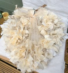 Stylish heart shaped  rustic country style rag wreath cream by DottyCottage1 on Etsy