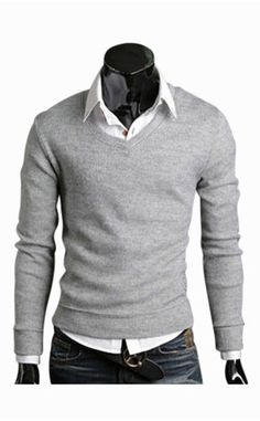 Man Slim Fit Light Gray V-Neck Sweater