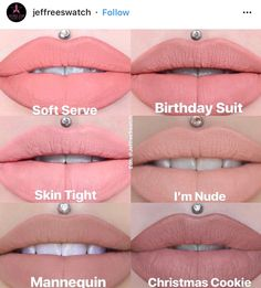 Jeffree Star Soft Serve / Birthday Suit / Skin Tight / I'm Nude / Mannequin / Christmas Cookie 👅 worn on 💋 Jeffree Star Swatches, Jeffree Star Liquid Lipstick, Lipstick Dupes, Lipstick Swatches, Lipsticks, Jeffree Star Birthday, Makeup Items, Makeup Products, Makeup Things