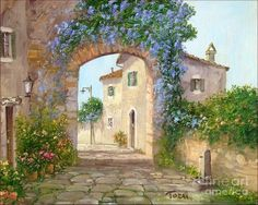 Italian Bloomed Alley Painting by Luciano Torsi