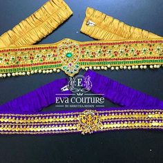 Eva Couture By Shritha Reddy ( Saree With Belt, Saree Belt, Saree Blouse Designs, Dress Designs, Indian Wear, Embroidery Patterns, Designer Dresses, Tassels, Waist Belts