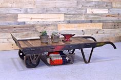 Reclaimed Wood Dolly Coffee Table Industrial by ScoutandForge