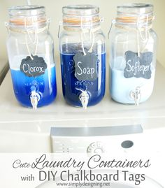 Loving these containers and this project for laundry essentials storage. Via Simply Designing with Ashley: Mason Jar Laundry Soap Containers with DIY Chalkboard Tags