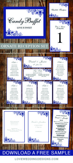 Beautiful wedding template set. Perfect for a blue wedding. Everything you need for your reception venue. View the full printable collection by Love Wedding Designs.