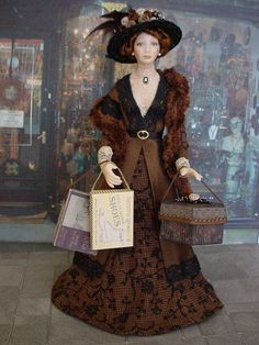GOOD TIMES: January - Time For The January Sales (Dollshouse dolls by Debbie Dixon-Paver)