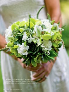 Wedding bouquet greens & whites