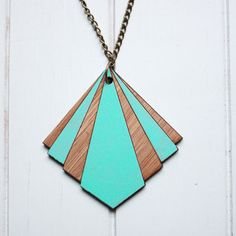 Lasercut Bamboo Wood Pendant Geo - Mint Colour