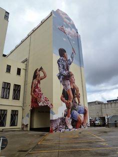 Fintan Magee creates a new mural in Dunedin, New Zealand #streetart jd
