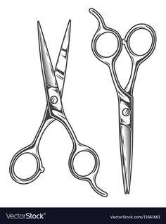 Monochrome of barber scissors vector image on VectorStock Scissors Drawing, Scissors Tattoo, Barber Tattoo, Barber Logo, Barber Shop Interior, Barber Shop Decor, Outdoor Fotografie, Scissors Design, Barbershop Design