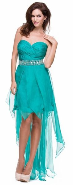 Jade High Low Dress Prom Lace Up Back Strapless Bead Waist Chiffon