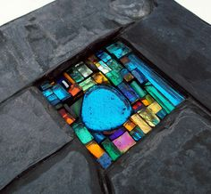 Little Joy wall art by Helen Nock, via Flickr  Lots of inspiration for birdbaths and mosaics.