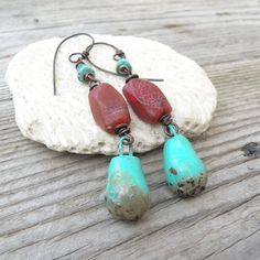 Colorful Boho Earrings, Turquoise and Red-Orange, Long Bohemian Dangles, Summer Jewelry